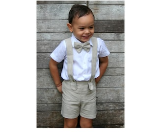 Boy Suspender Shorts-Beige(ONLY),Linen Shorts,Page Boy,Christening Outfit,Ring Bearer,Baptism,Shorts with Braces,Wedding attendant
