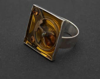 Steampunk ring, steampunk accessory for women or men, square ring, adjustable ring
