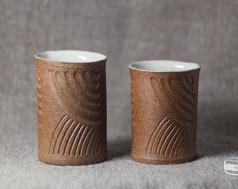 Couple of Meoto Yunomi tea cups for Japanese tea - handmade *0597-2