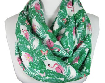Pink Flamingo Scarf Bird Infinity Scarf Animal Scarf Spring Summer Scarf Accessory Birthday Gift For Her For Women Mothers Day Gift For Mom
