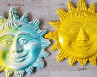 Smiling yellow sun wall hanging ceramics