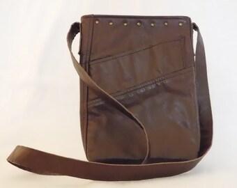 Handmade reclaimed brown leather small hobo, cross body bag