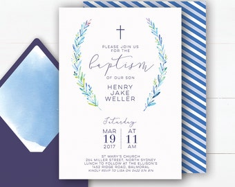 Baptism Invitation Boy | Baptism Invitation Boy | Baptism Invite | Christening Invitations | Baptism Invitations Printable | Blue and Green