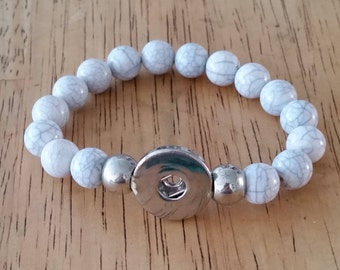 1 - White Howlite Bead Snap Bracelet - Stretch  Holds 1 Snap Charm - 18mm -