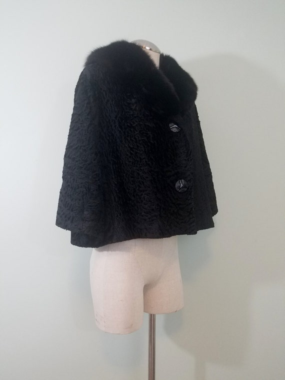 1950s-1960s Persian Lamb and Mink Jacket / Cropped Trapeze Fur Coat / Gladding's, Providence / Modern Size Small to Medium