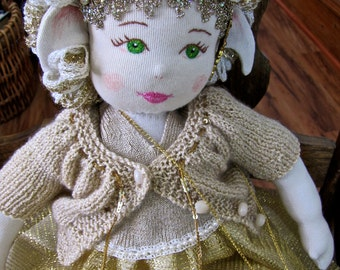 Goldenrod, a Waldorf style faerie doll handcrafted from recycled clothing & vintage trims