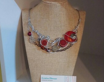 Rust pottery necklace, silver wire