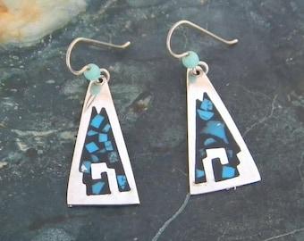 Mexico Alpaca Silver Vintage Dangle Earrings Enamel & Turquoise Inlays Item Y43