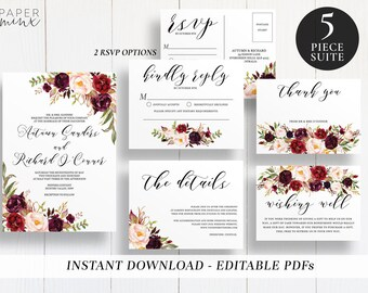 Editable Marsala Wedding Suite Template | Template | Printable | Marsala Floral Wedding Invitations | Boho Floral | Floral Invitations