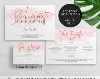 Printable Bachelorette Weekend Invitation | Editable PDF | Party | Weekend Itinerary | Events | Details | Pink Watercolor | Rose Gold Foil