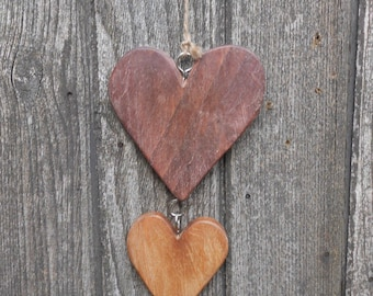Shabby Chic Reclaimed Wood Driftwood Style String of Wooden Hearts Decoration
