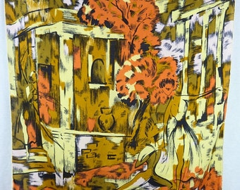 "Silk scarf, ""Romeo and Juliet"", style pattern painting of Vallauris"