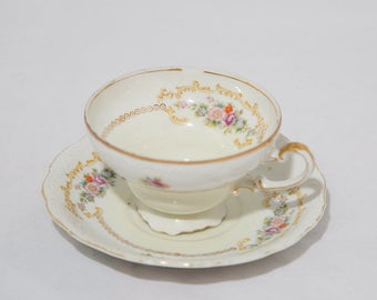 Antique Bone China Ware Tea Cup and Saucer Set