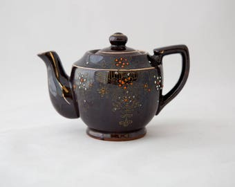 Chocolate Brown Hand Painted Ceramic Vintage Teapot Made in England