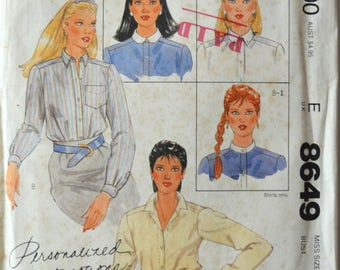 Uncut 1980s McCall's Vintage Sewing Pattern 8649, Size 12; Misses' Shirts