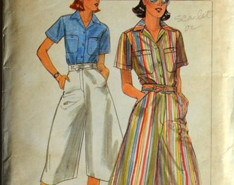 1970s Butterick Vintage Sewing Pattern 5326, Size 8; Misses' Shirt and Culottes