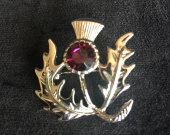 Thistle Brooch with Amethyst