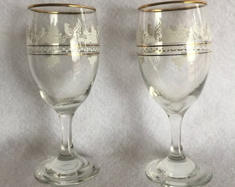 Two Vintage Wine Glasses