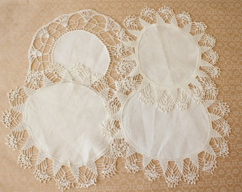 Vintage Handmade Linen and Lace Round Doilies Lot of Four