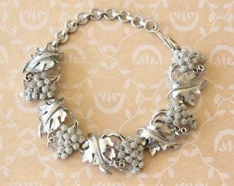 Vintage 1960s Textured Grape Cluster Link Bracelet Silver Tone