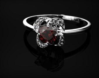 White Gold Garnet Engagement Ring Garnet Ring Red Gemstone Engagement Ring White Gold Garnet Ring January Birthstone