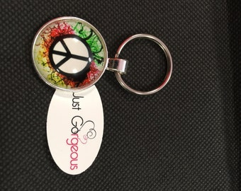 Ink Peace Symbol Keyring/Necklace