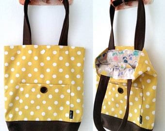 Tote bag, shoulder bag, vegan bag, Handbag, Beach Bag, summer bag, Everyday bag, canvas handbag, canvas tote, polka dot bag, yellow bag