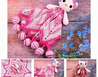 security blanket hello kitty crochet blanket newborn gift baby lovey baby blanket baby shower gift lovey toy Nursery Decor lovey crochet