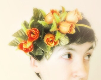 Romantic floral tiara floral bridal hair wedding flower crown floral crown wedding boho wedding tiara woodland crown gold roses crown