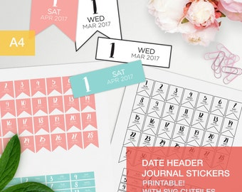 Date header stickers for your bullet journal, 2017, with SVG cut files - date header stickers