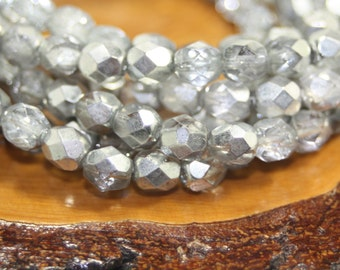 Czech Glass Beads, 6mm Firepolish, Faceted Round, 30 Beads
