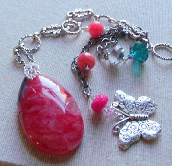Pink window agate suncatcher - silver butterfly - teal bead decoration -  fairy charm - rear view mirror -  hostess gift - LizPoriginals