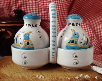 Salt and pepper Sardinian ceramic set vintage