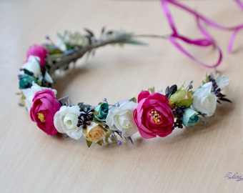 Bridal Flower crown wedding boho hair wreath pink white floral crown boho head dress flowers halo bridal wreath fuchsia wedding headband