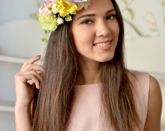 Boho bridal crown Exotic wedding spring floral crown Yellow bridal halo purple flower hair Boho wedding head wreath summer
