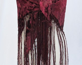 Classic Floral Burnout Cut Devore Velvet Gypsy Piano Shawl Scarf Stole Wrap  Tablecloth Table Topper Fringe