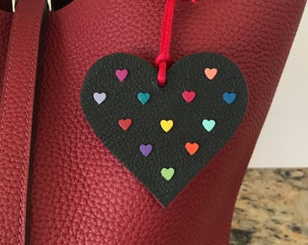 Double-Sided Rainbow Heart Bagcharms