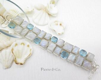 Rainbow Moonstone and Swiss Blue Topaz Sterling Silver Bracelet