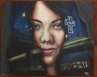Realistic Acrylic Painting 16x20 Girl Portrait on Canvas Original Cool Blue EastVan Vancouver City Night Lights Graffiti Hipster Art Vancity