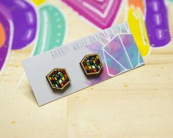 Rubik's Stud Earrings