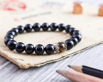 8mm - Black onyx and tiger eye beaded stretchy bracelet, mens bracelet, womens bracelet, onyx bracelet, black bead bracelet