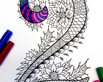 """Number 2 Zentangle - Inspired by the font """"Harrington"""""""