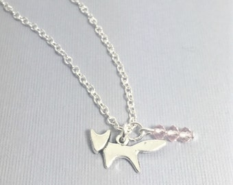 Forest Fox Necklace with Pink Crystal Charm,Fox Jewelry Necklace,Fox Necklace,Silver Fox Charm, Fox animal Jewelry,Wild Animals,Forest,Fox