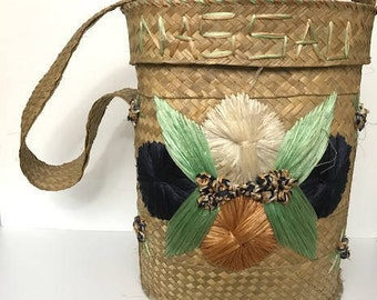 Large Straw Basket Decor with Big Flowers Beach Basket Carry Basket