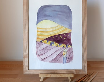 "Table watercolor - ""OWL"" - framed original Illustration"