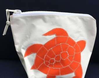 Sunblock Bag -Orange Turtle - Made from Recycled Sail