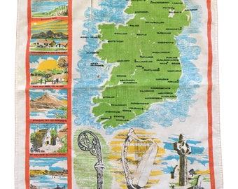 Vintage Ireland Map Printed Linen Dish Towel
