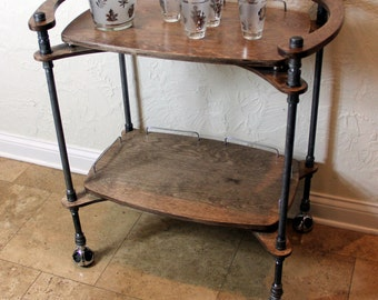 Custom, Handmade, One-of-a-Kind, Iron Pipe and Wood Bar Cart ****This Item Cannot Be Shipped*****
