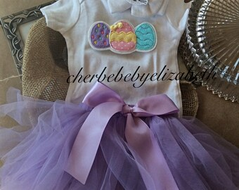 Easter spring Coming home outfit, Easter egg onesie, bunny hat and purple tutu, hospital bow hat with bunny, free gift wrap