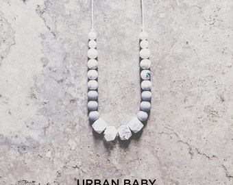 Silicone Teething Necklace, Teething Necklace, Chew Necklace, Food Grade, Chewelry, Charlotte, Marble, Gray, White